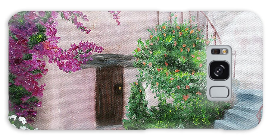 California Galaxy S8 Case featuring the painting Carmel Mission Side Door by Laura Iverson