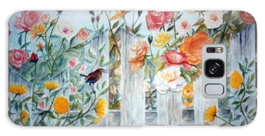 Roses; Flowers; Sc Wren Galaxy Case featuring the painting Carolina Wren And Roses by Ben Kiger