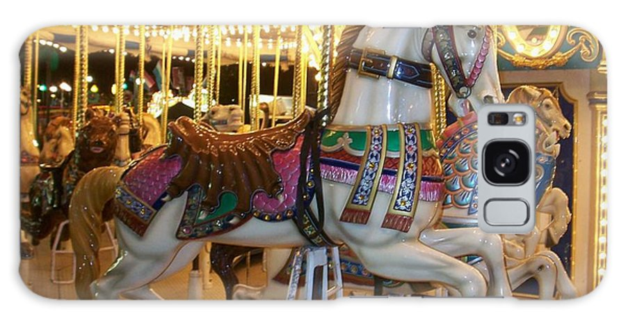 Carosel Horse Galaxy Case featuring the photograph Carosel Horse by Anita Burgermeister