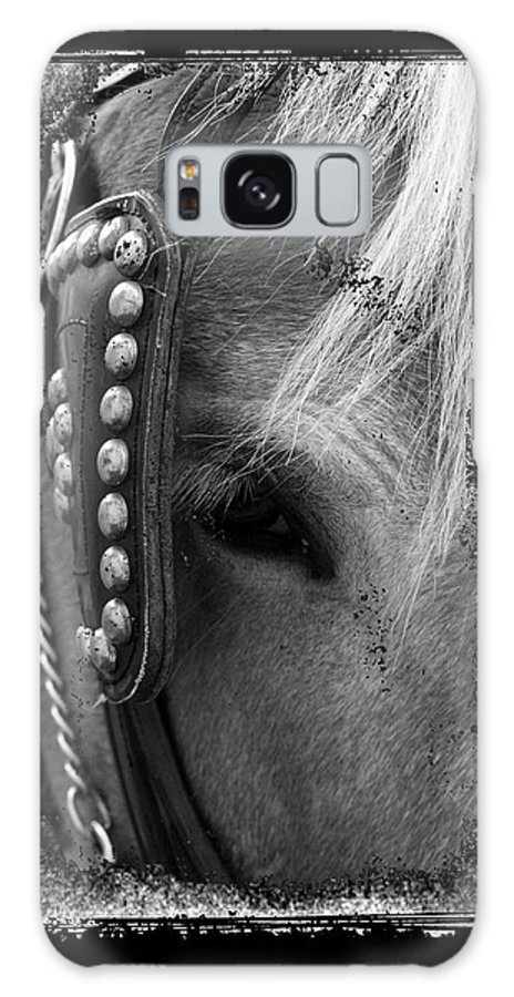 Horse Galaxy S8 Case featuring the photograph Carriage Horse B And W by David Dunham
