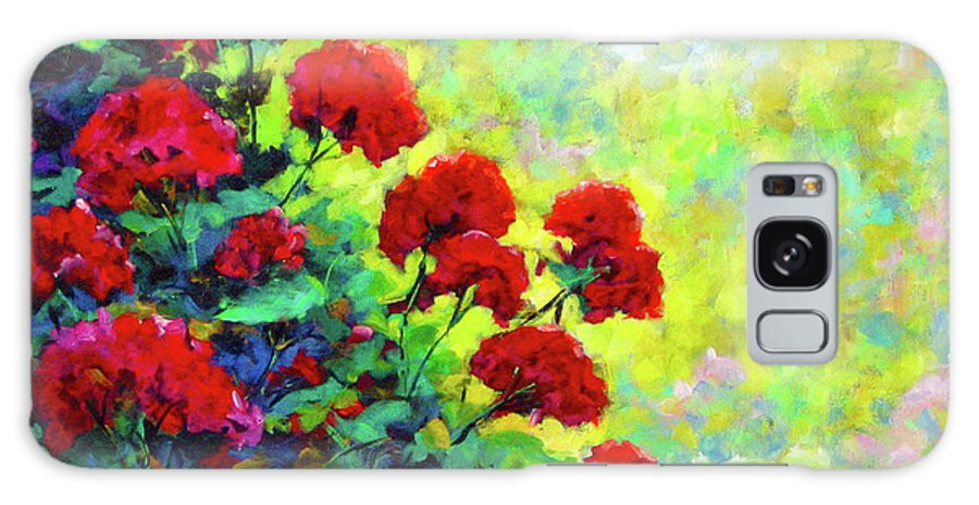 Art Original Galaxy Case featuring the painting Cascade Of Geraniums by Richard T Pranke