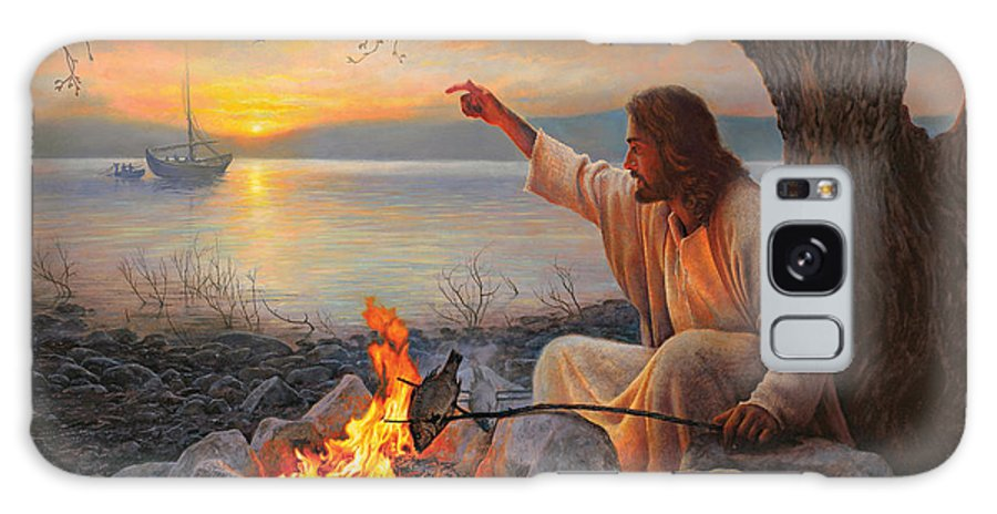 Jesus Galaxy Case featuring the painting Cast Your Nets On The Right Side by Greg Olsen