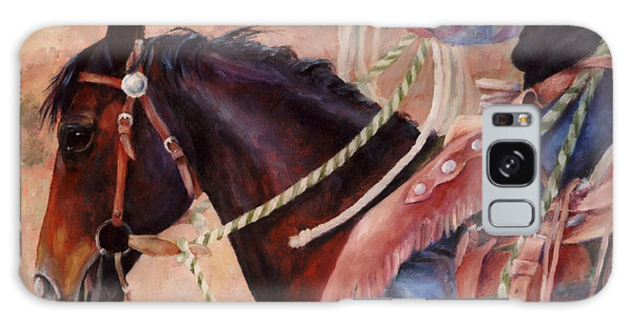Horse Galaxy S8 Case featuring the painting Castle Rock Buckaroo Western Cowboy Painting by Kim Corpany