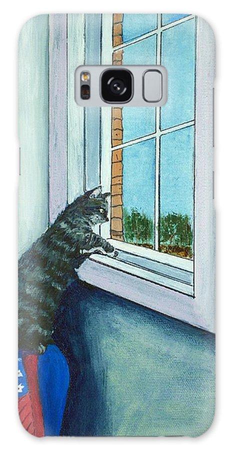 Malakhova Galaxy S8 Case featuring the painting Cat By The Window by Anastasiya Malakhova