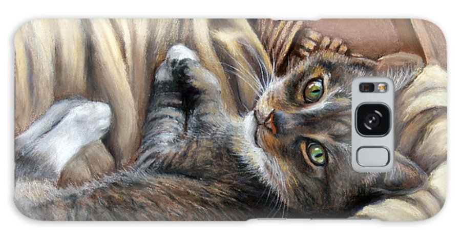 Animal Galaxy S8 Case featuring the pastel Cat In A Basket by Susan Jenkins