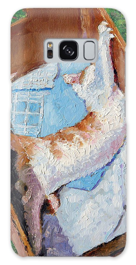 Kitten Galaxy S8 Case featuring the painting Cat In A Box by John Lautermilch