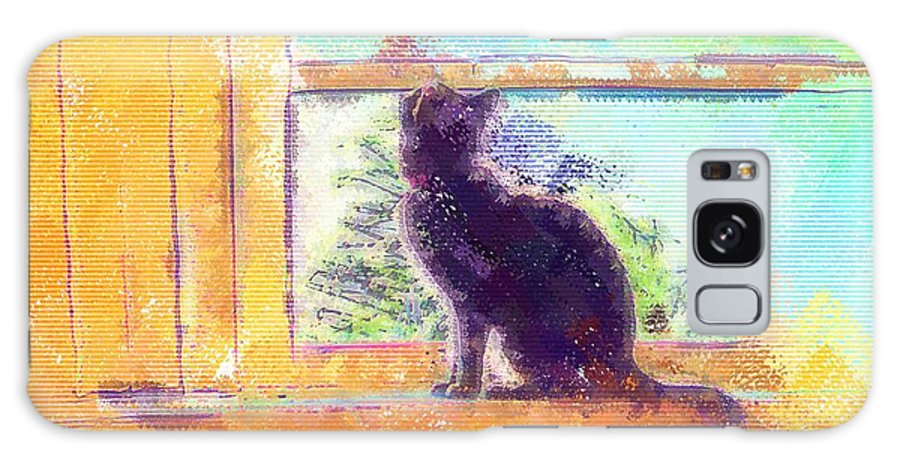 Cat Galaxy S8 Case featuring the digital art Cat Looking Out The Window by Nora Martinez