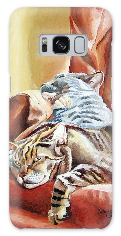 Cats Galaxy S8 Case featuring the painting Cat Nap by Dominic White