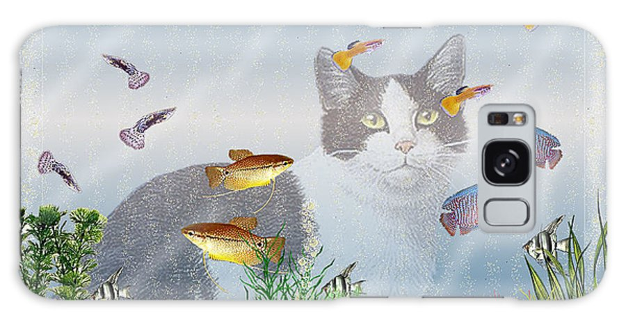 Fish Galaxy S8 Case featuring the digital art Cat Watching Fishtank by Terri Mills