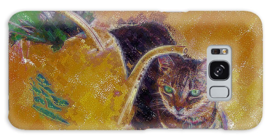 Cat Galaxy S8 Case featuring the digital art Cat With Watering Can by Nora Martinez