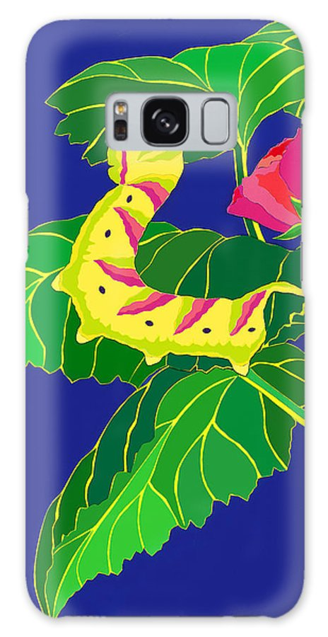 Nature Galaxy S8 Case featuring the drawing Caterpillar by Lucyna A M Green