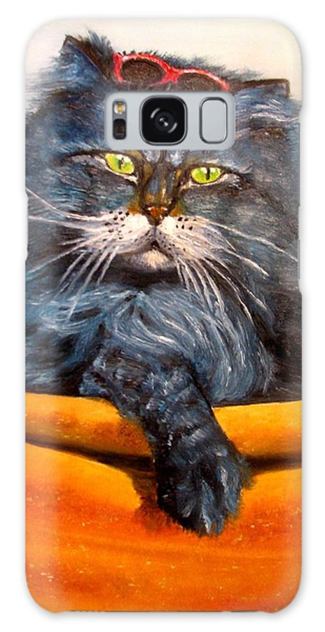 Cat Galaxy S8 Case featuring the painting Cat.Go to swim.Original oil painting by Natalja Picugina