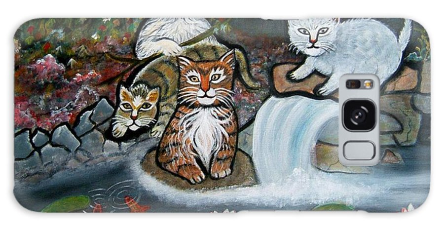 Acrylic Art Landscape Cats Animals Figurative Waterfall Fish Trees Galaxy S8 Case featuring the painting Cats In The Wild by Manjiri Kanvinde