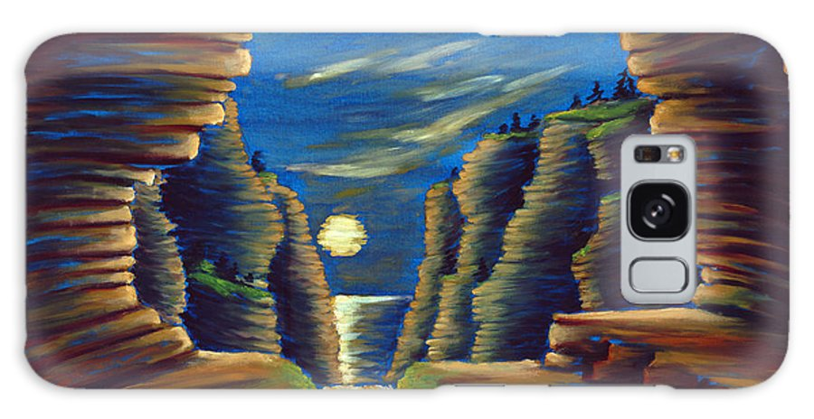Cave Galaxy Case featuring the painting Cave With Cliffs by Jennifer McDuffie