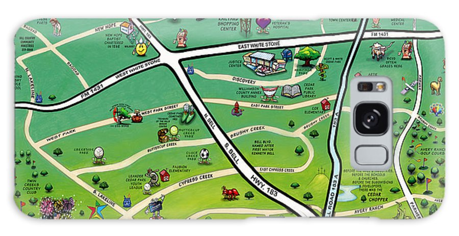 Cedar Park Galaxy S8 Case featuring the digital art Cedar Park Texas Cartoon Map by Kevin Middleton