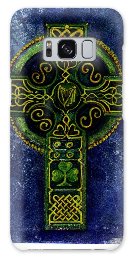 Elle Fagan Galaxy Case featuring the painting Celtic Cross - Harp by Elle Smith Fagan