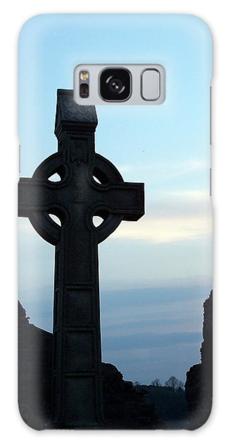 Irish Galaxy Case featuring the photograph Celtic Cross At Sunset Donegal Ireland by Teresa Mucha