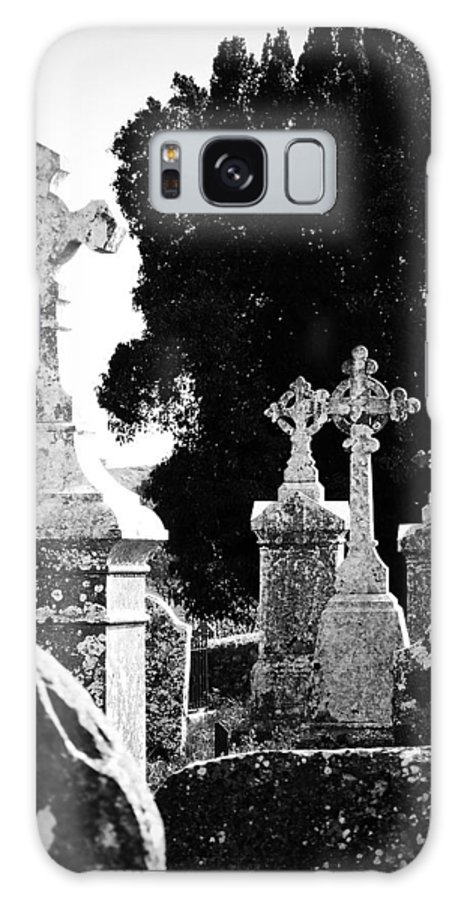 Celtic Galaxy Case featuring the photograph Celtic Crosses At Fuerty Cemetery Roscommon Ireland by Teresa Mucha
