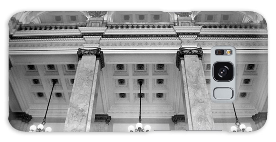 Central Library Galaxy S8 Case featuring the photograph Central Library Milwaukee Interior Bw by Anita Burgermeister