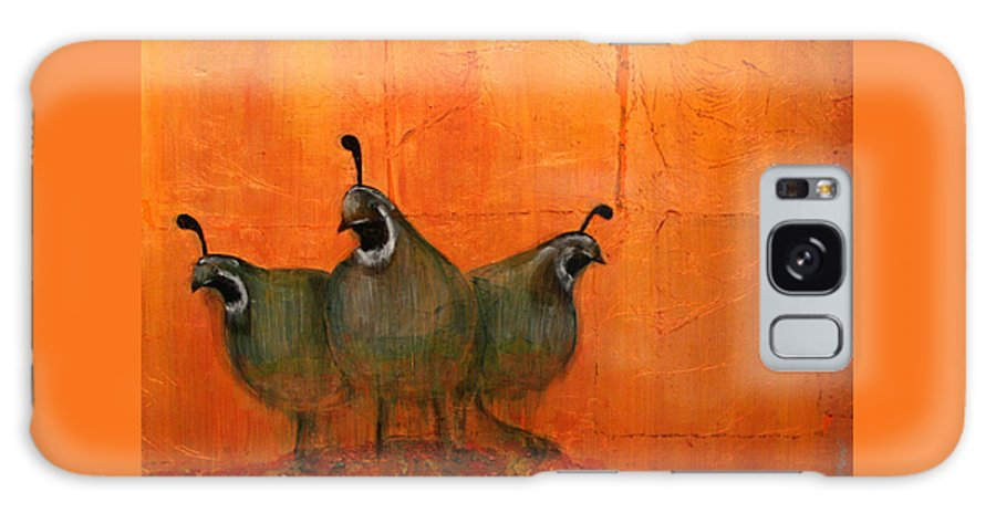 Oil Galaxy S8 Case featuring the mixed media Central Oregon Quail by Patt Nicol