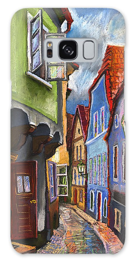 Pastel Chesky Krumlov Old Street Architectur Galaxy S8 Case featuring the painting Cesky Krumlov Old Street 1 by Yuriy Shevchuk