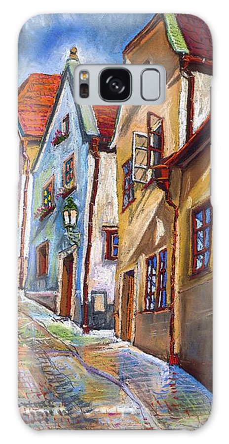 Pastel Chesky Krumlov Old Street Architectur Galaxy Case featuring the painting Cesky Krumlov Old Street 2 by Yuriy Shevchuk