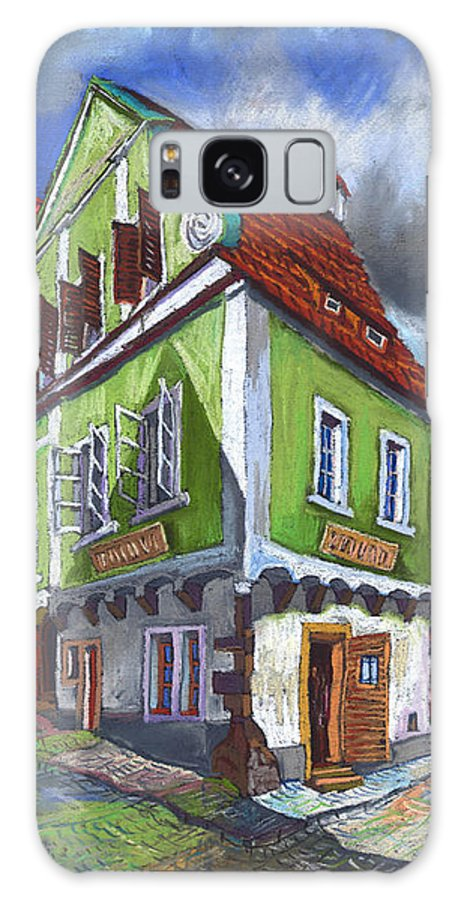 Pastel Chesky Krumlov Old Street Cityscape Realism Architectur Galaxy Case featuring the painting Cesky Krumlov Old Street 3 by Yuriy Shevchuk