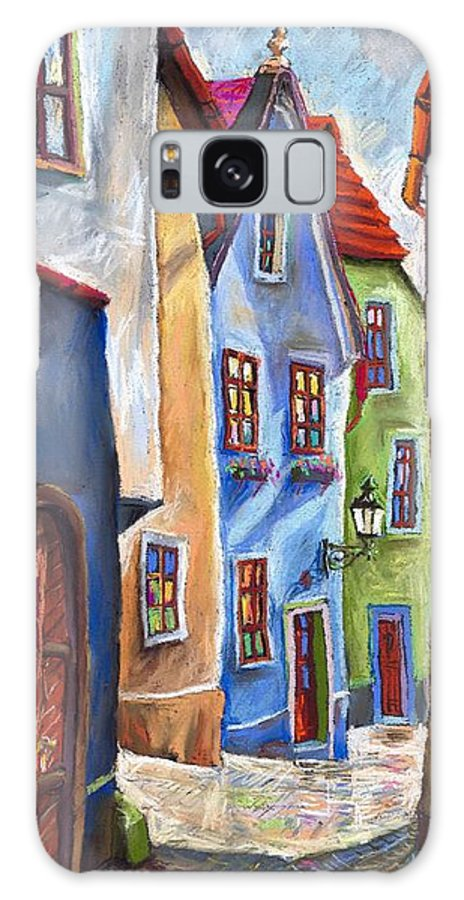 Cityscape Galaxy S8 Case featuring the painting Cesky Krumlov Old Street by Yuriy Shevchuk
