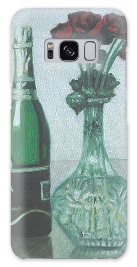 Champagne Galaxy S8 Case featuring the painting Champagne And Roses by Usha Shantharam