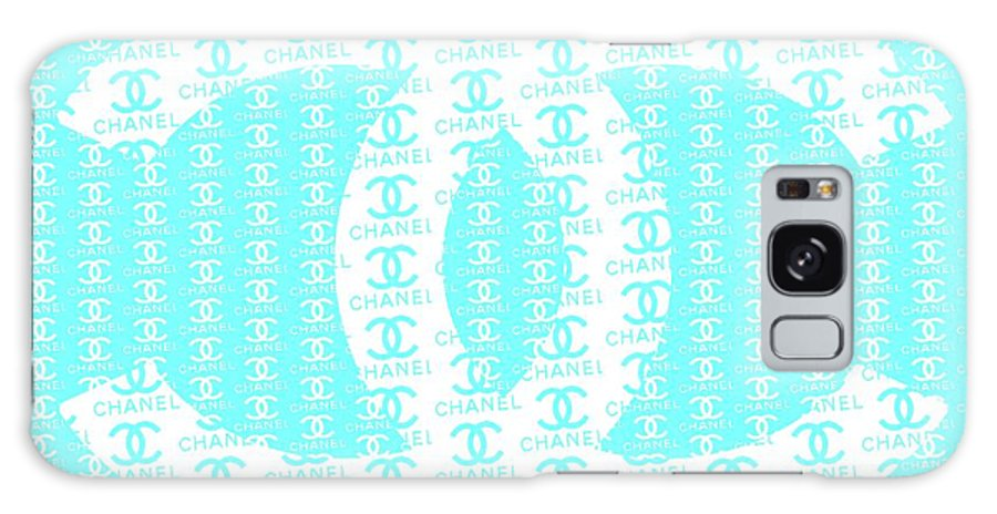 Chanel Logo Galaxy S8 Case featuring the mixed media Chanel Logo Blue Teal White by Del Art