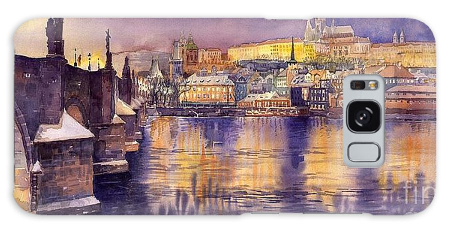 Cityscape Galaxy Case featuring the painting Charles Bridge And Prague Castle With The Vltava River by Yuriy Shevchuk