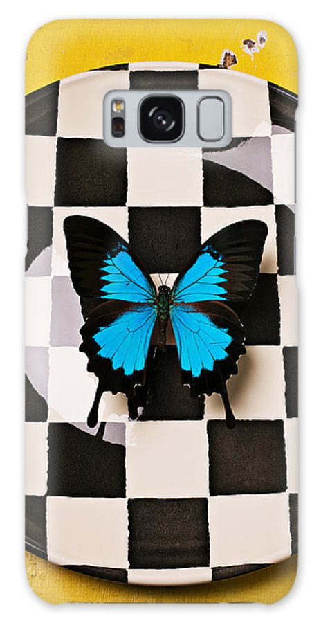 Blue Galaxy S8 Case featuring the photograph Checker Plate And Blue Butterfly by Garry Gay