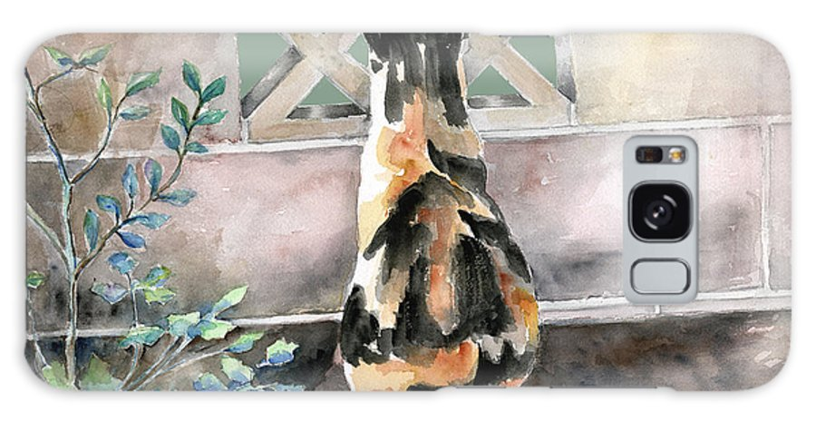 Cat Galaxy Case featuring the painting Checking Out The Neighbors Backyard by Arline Wagner