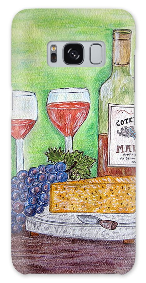Cheese Galaxy S8 Case featuring the painting Cheese Wine And Grapes by Kathy Marrs Chandler