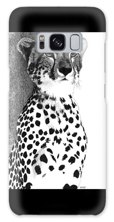 Cheetah Galaxy S8 Case featuring the drawing Cheetah by Pat Huggins