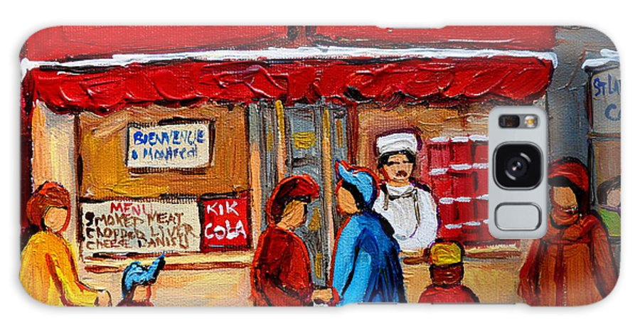 Schwartzs Hebrew Deli Galaxy S8 Case featuring the painting Chef In The Window by Carole Spandau
