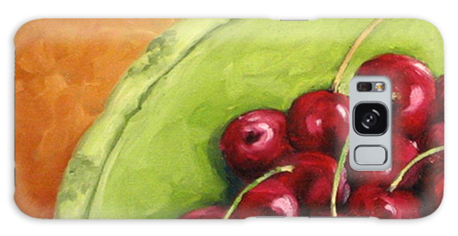 Art Galaxy S8 Case featuring the painting Cherries Green Plate by Richard T Pranke