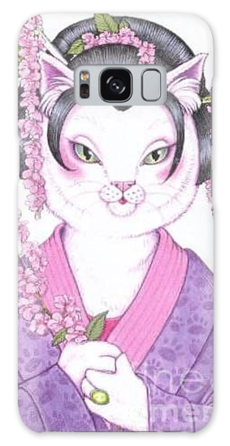 Cats Galaxy S8 Case featuring the painting Cherry Blossom by Sin D Piantek
