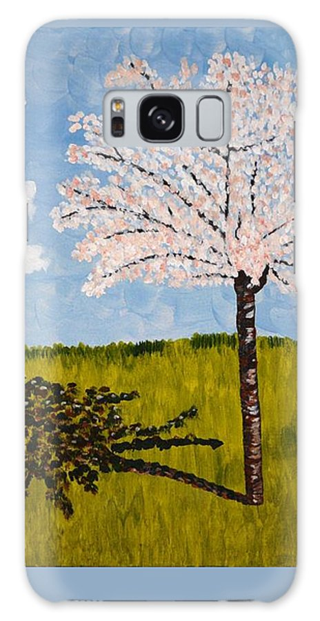 Cherry Galaxy Case featuring the painting Cherry Blossom Tree by Valerie Ornstein
