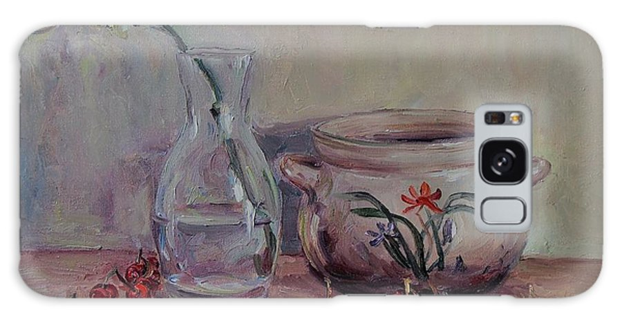 Cherry Still Life Galaxy S8 Case featuring the painting Cherry Still Life Pottery Red Still Life Art Still Life Painting Impressionist Painting Impression by Chao Liu