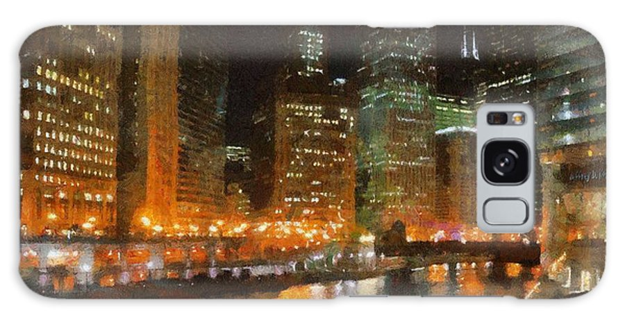 Chicago Galaxy S8 Case featuring the painting Chicago At Night by Jeffrey Kolker