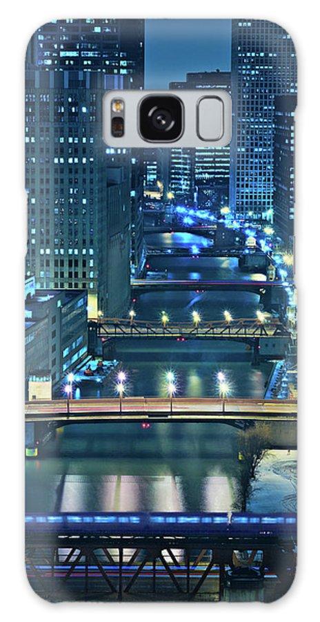 Chicago Galaxy S8 Case featuring the photograph Chicago Bridges by Steve Gadomski
