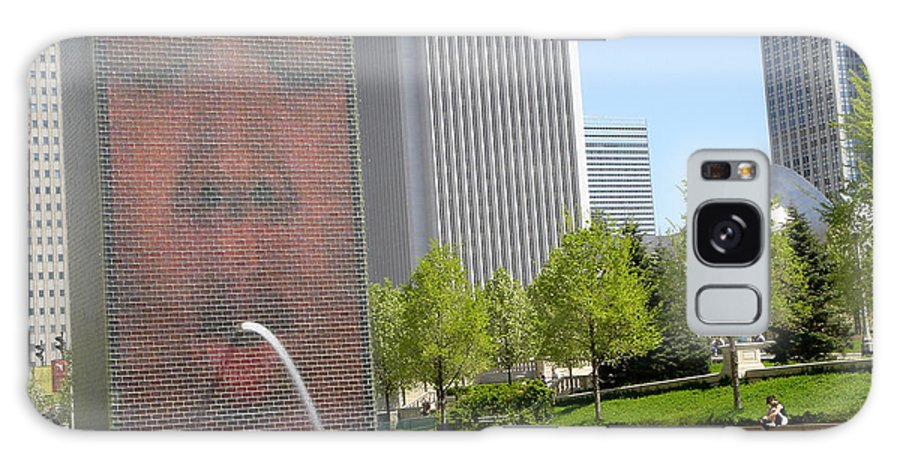 Chicago Galaxy Case featuring the photograph Chicago Crown Fountain 8 by Jean Macaluso