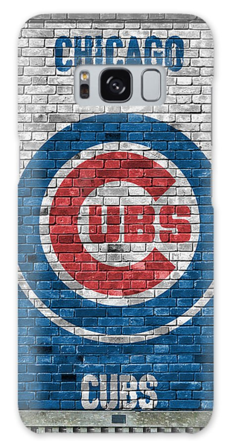 Cubs Galaxy S8 Case featuring the painting Chicago Cubs Brick Wall by Joe Hamilton