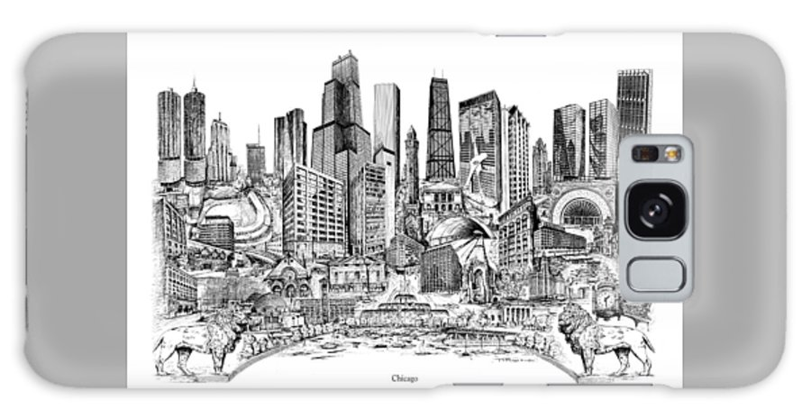 City Drawing Galaxy S8 Case featuring the drawing Chicago by Dennis Bivens