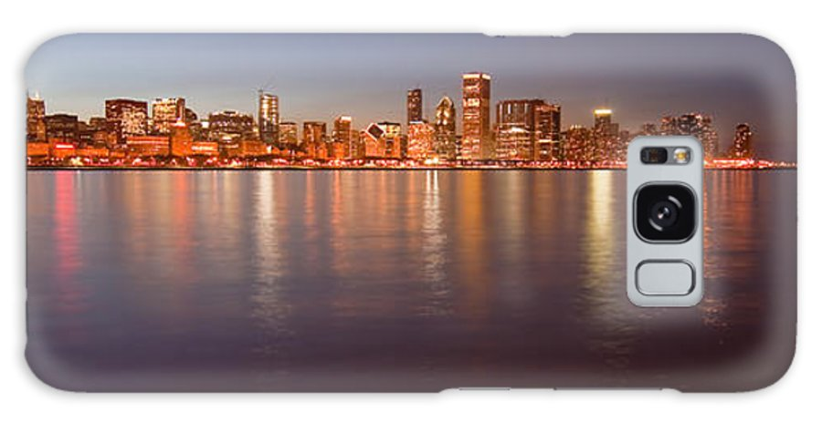 Chicago Galaxy S8 Case featuring the photograph Chicago Dusk Skyline Panoramic by Sven Brogren