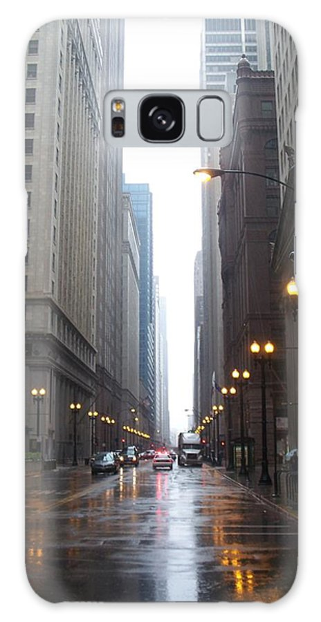 Chicago Galaxy S8 Case featuring the photograph Chicago In The Rain 2 by Anita Burgermeister
