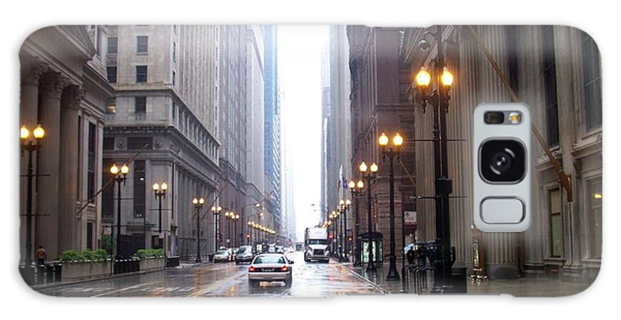 Chicago Galaxy S8 Case featuring the photograph Chicago In The Rain by Anita Burgermeister
