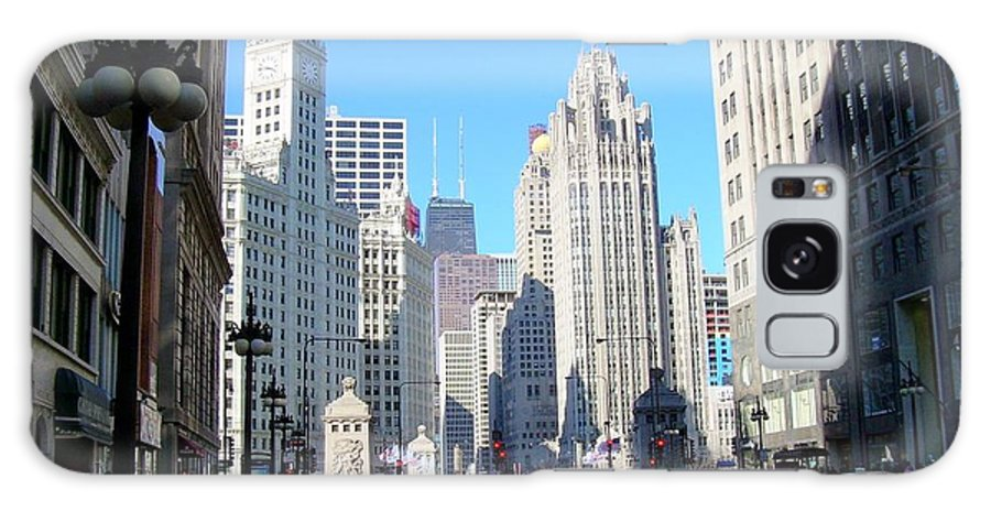 Chicago Galaxy S8 Case featuring the photograph Chicago Miracle Mile by Anita Burgermeister