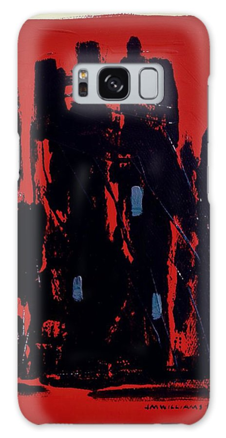Abstract Galaxy S8 Case featuring the painting Chicago On Red by John Williams